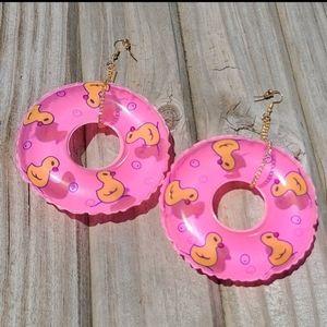 Rubber Ducky Earrings in Bright Pink